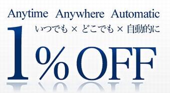 P-oneカード最大のメリットは自動で1%OFF!
