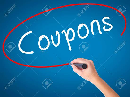 Man Hand writing Coupons black marker on visual screen